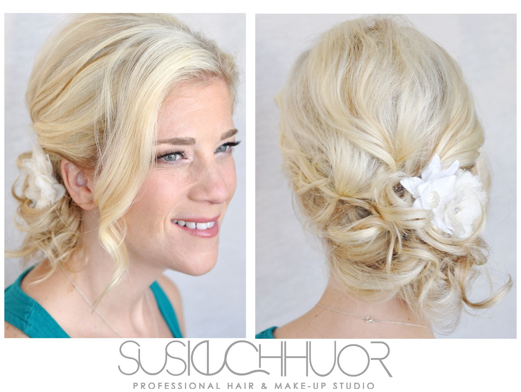 Loose blonde updo swept to the side for this
