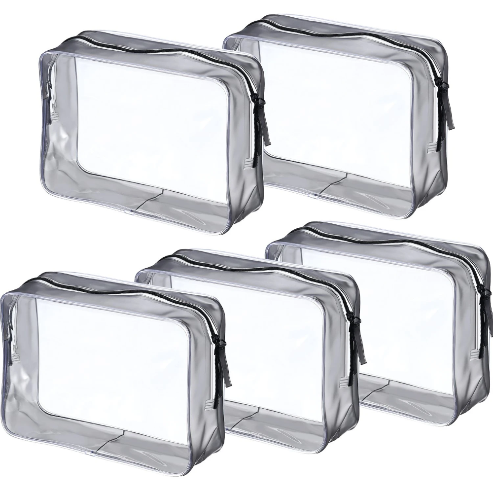 Pangda 5 Pack Clear PVC Zippered Toiletry Carry Pouch ...