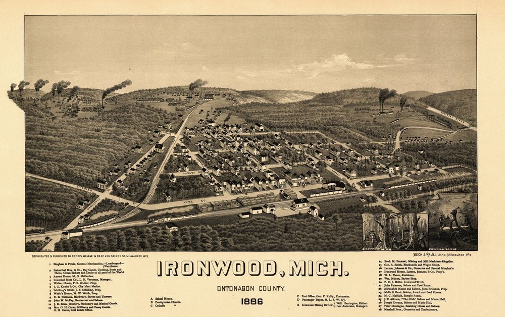 Historic Map of Ironwood Michigan 1886 tonagon County KJAPosters