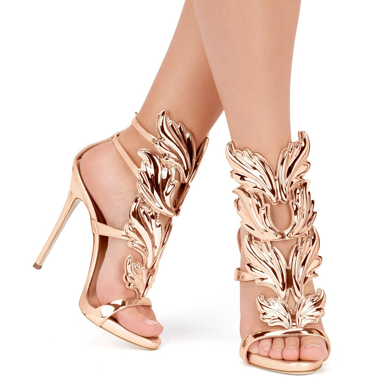 fd9ba79c6a70 GIUSEPPE ZANOTTI- CRUEL Mirrored rose gold leather  Cruel  sandal ...