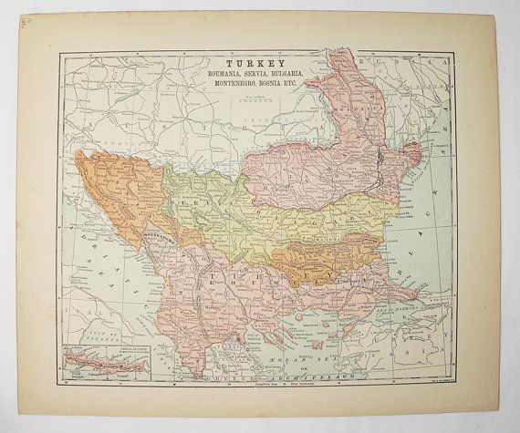 1896 turkey map balkan peninsula bosnia map servia moldavia map walachia antique map