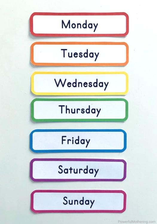 Preschool Chart Classroom Charts Interactive Days of the Week Poster Days of the Week Charts Digital Download Homeschool Activity