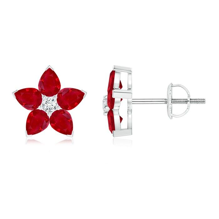 Angara Pear-Shaped Citrine and Diamond Flower Stud Earrings awjjrMVW