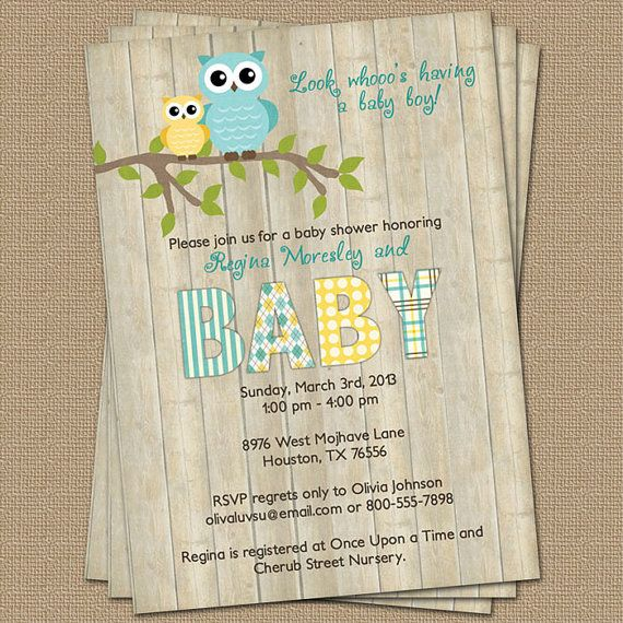 Owl Baby Shower Invitation With Wood Background Blue And