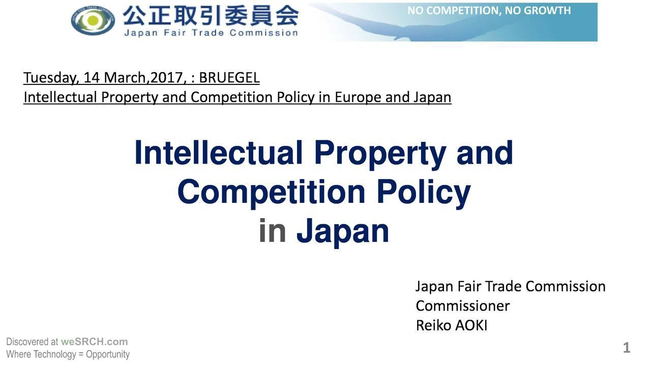 Intellectualproperty And Competition Policy In Japan  Business