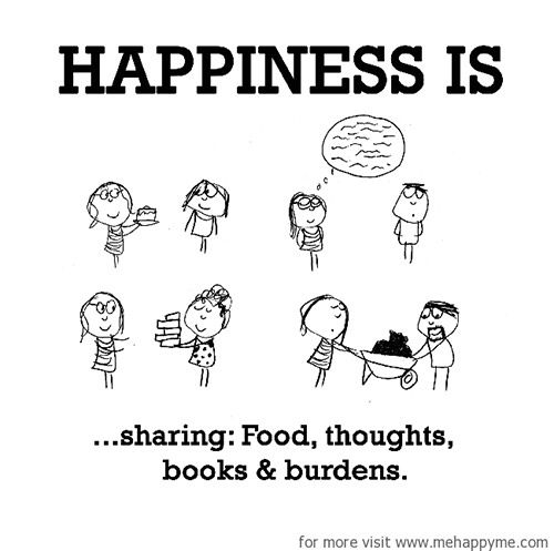 Happiness 369 Happiness is sharing food thoughts books