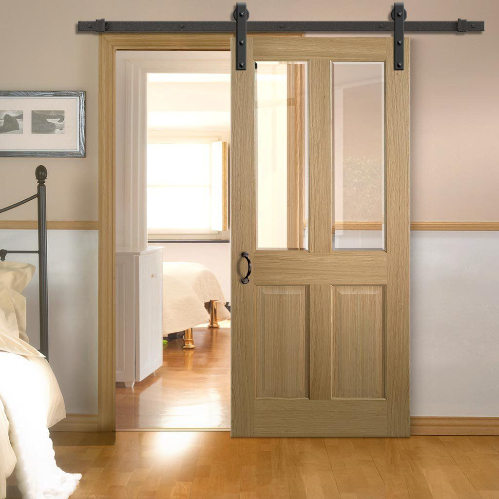 Single Sliding Door Track Richmond Oak Door Bevelled Clear Glass Prefinished In 2020 Internal Sliding Doors Barn Style Sliding Doors Sliding Doors