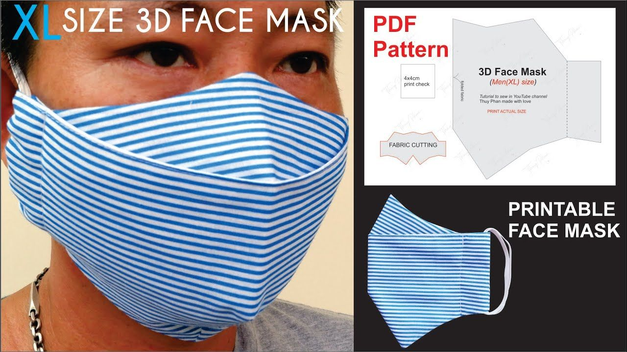 How To Make XL Size 3D Face Mask Pattern PDF 3D Face