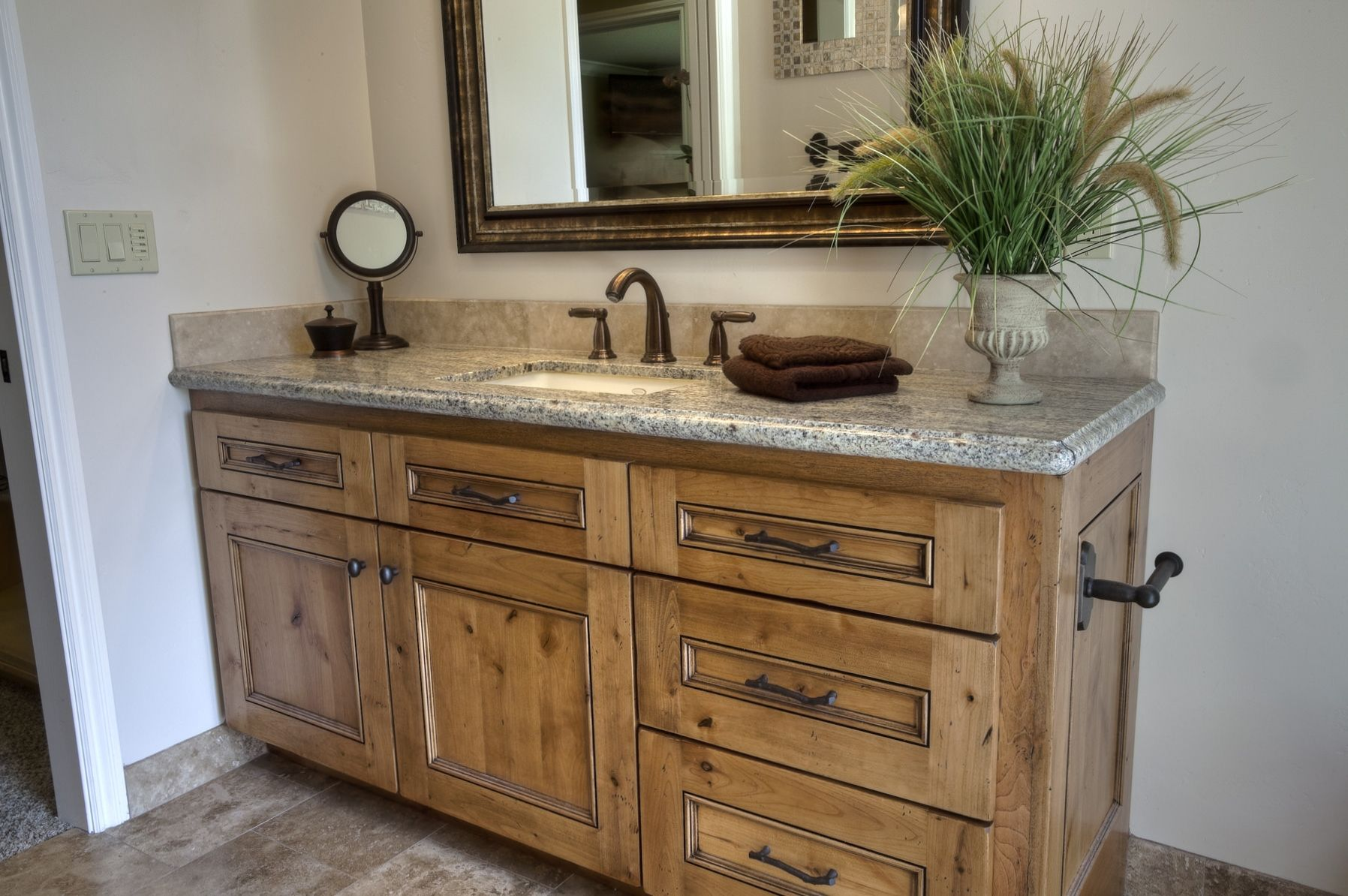 Rustic knotty alder with stain and glaze finish by shaw - Reasonably priced bathroom vanities ...