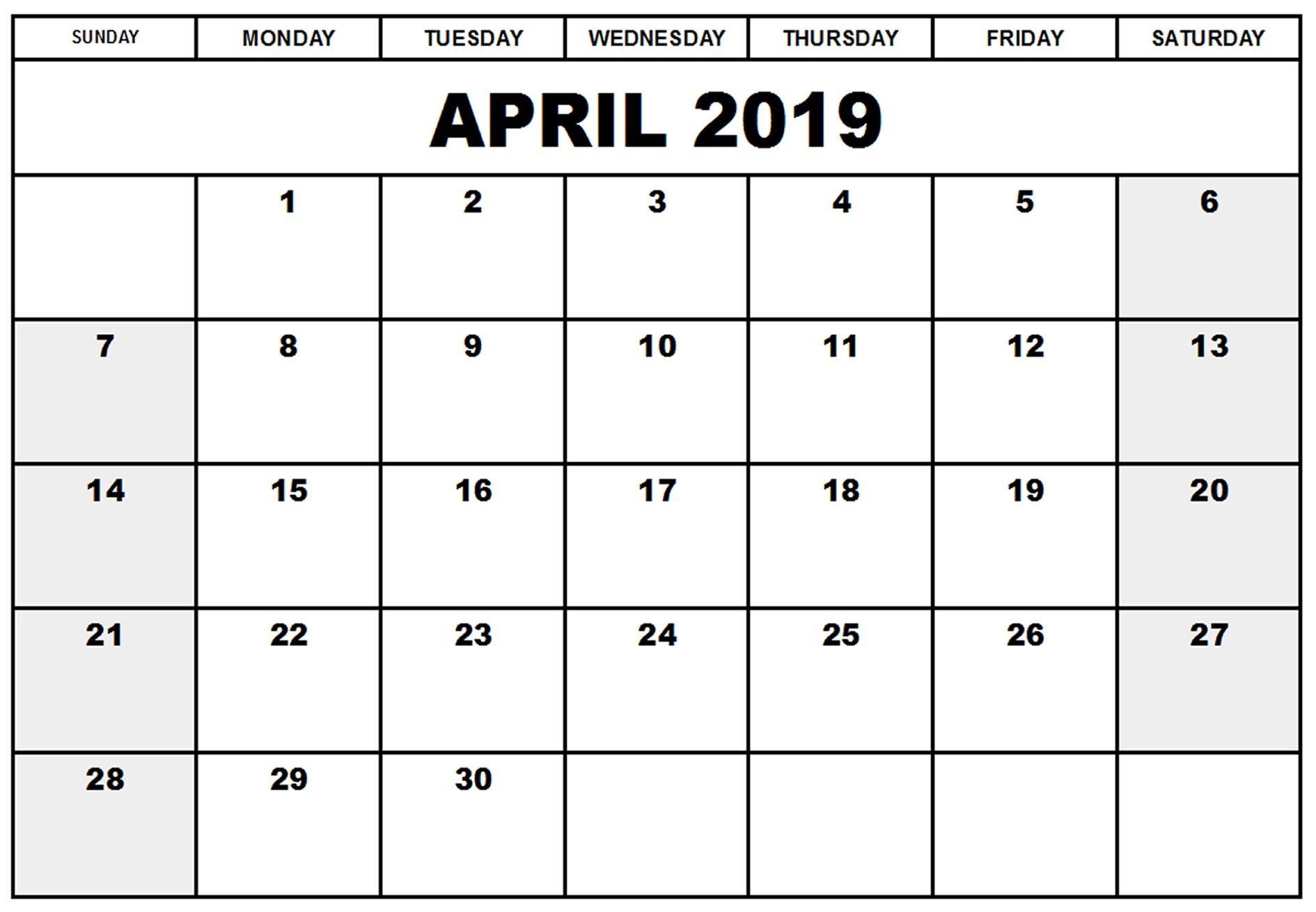 April 2019 Printable Calendar Excel | April 2019 Printable