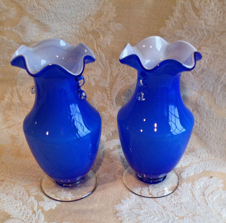 Cased hand blown vases pair french blue vases hand blown glass cased hand blown vases pair french blue vases hand blown glass vases mint reviewsmspy