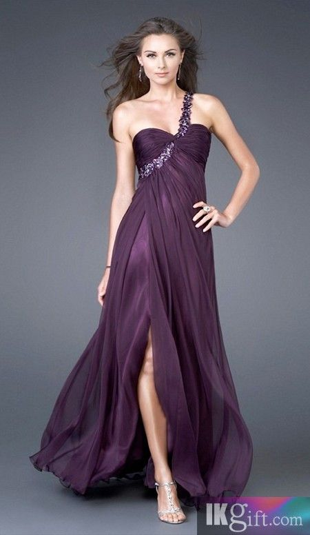 A line One Shoulder Neckline Chiffon and Sequins Grape Prom Dresses - Prom Dresses - Special Occasion Dresses - Wedding & Events