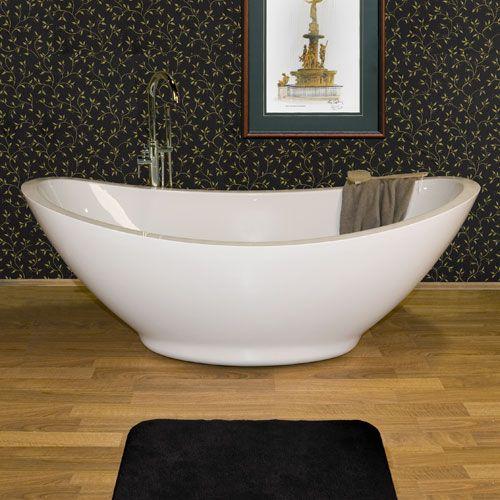65 Juliette Freestanding Double Slipper Acrylic Tub Overflow No Faucet Holes Oil