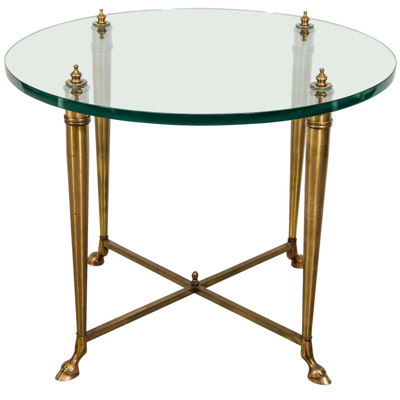 Mid Century Maison Jansen Style Brass and Glass End or Side Table