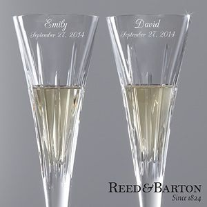 These are beautiful, and on sale! Reed & Barton Personalized Crystal Flute Set