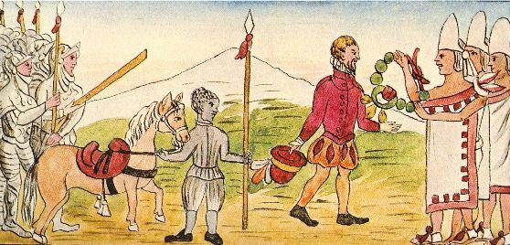 Recibimiento de Cortés por los indígenas mexicanos. Fray Diego Durán.