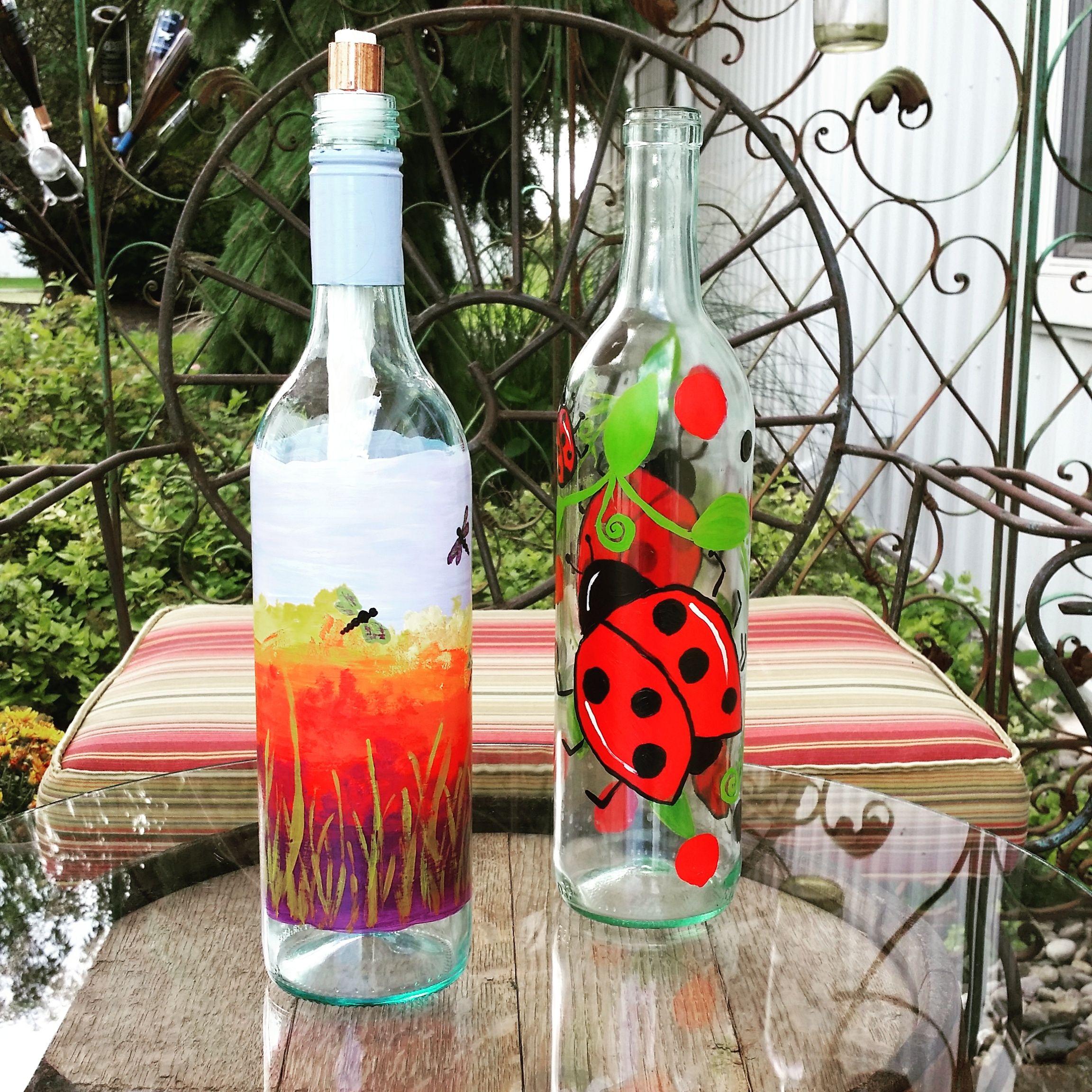 Diy Painted Wine Bottle Tiki Torches Wine Bottle Tiki Torch Painted Wine Bottles Recycled Wine Bottles