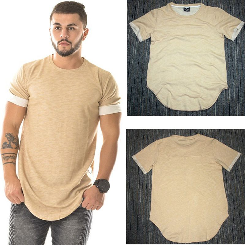 beige summer hip hop t-shirt kanye west tyga tshirt men plain t ...