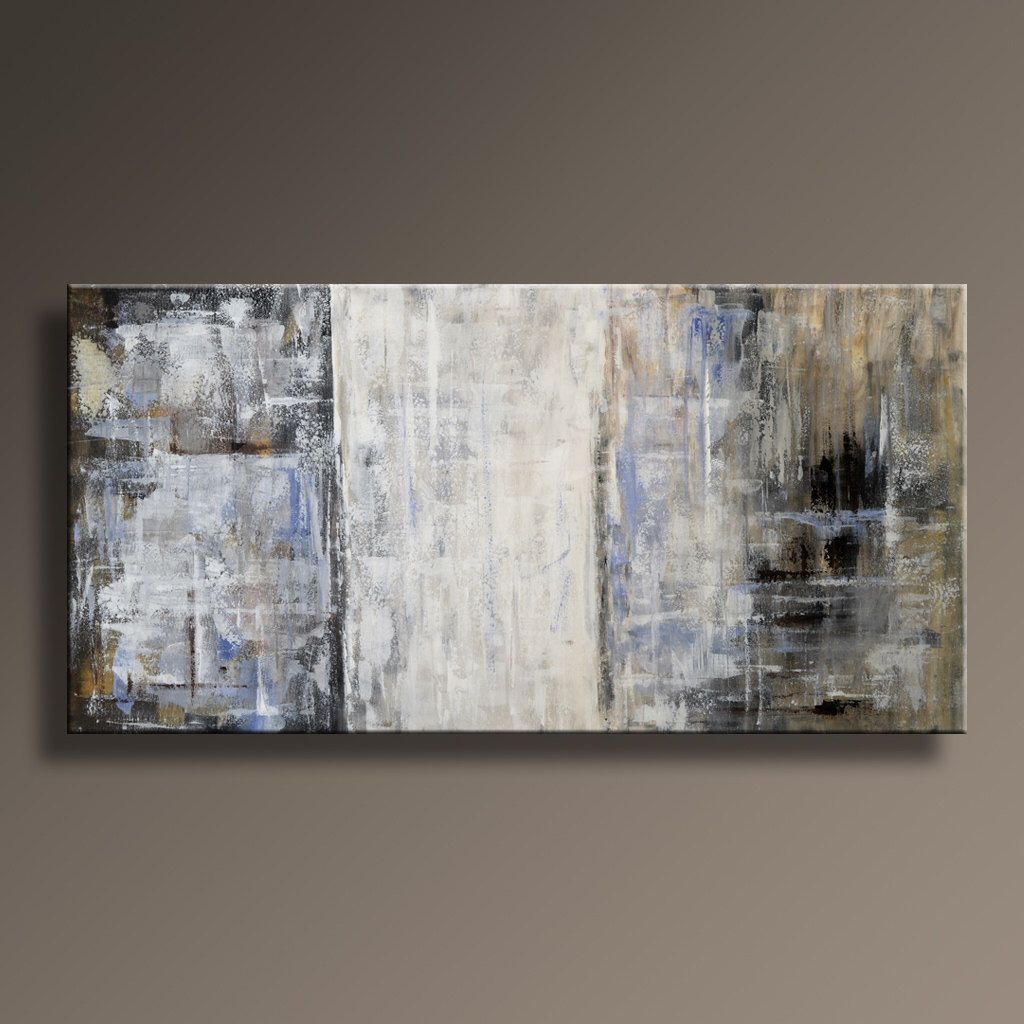 Large ORIGINAL ABSTRACT Painting On Canvas Contemporary Rustic Neutral Abstract Art Gray Brown White Blue Black