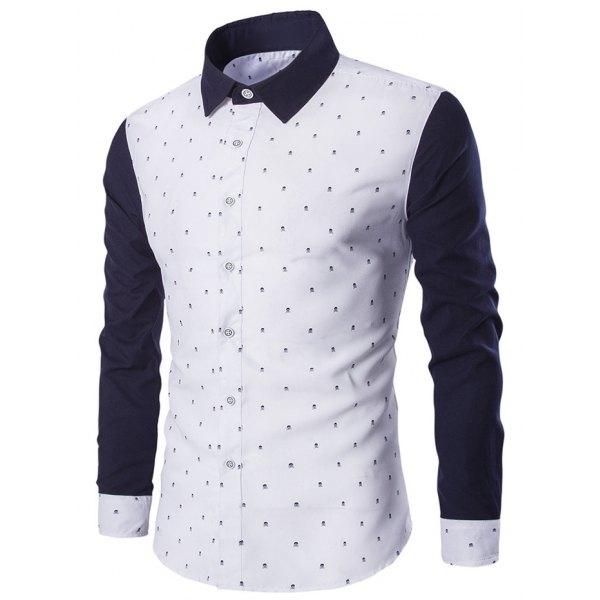 Turndown Collar Skull Print Color Block Spliced Shirt