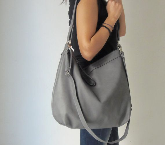 Grey leather bag - Leather hobo bag - Soft leather bag - Laptop ...