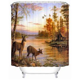 3d Deer Beside River Printed Polyester Bathroom Shower Curtain