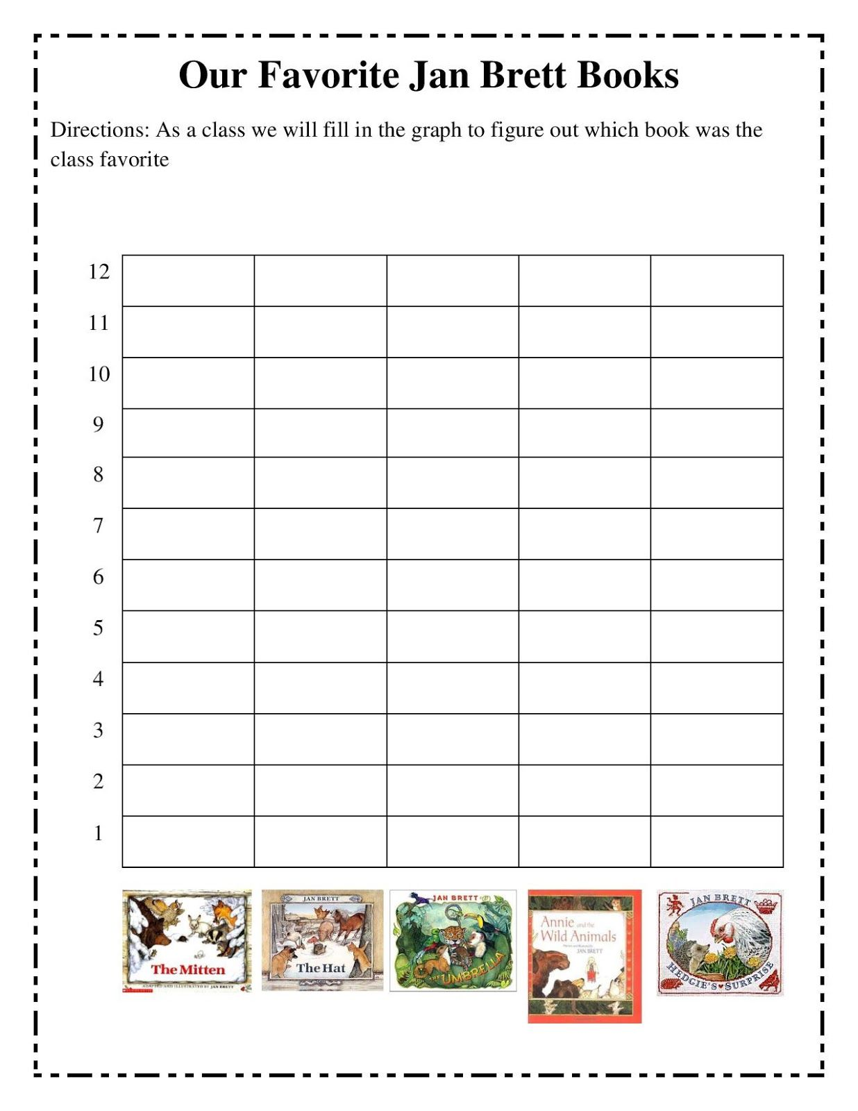 Jan Brett Author Study Bar Graph To Chart The Class