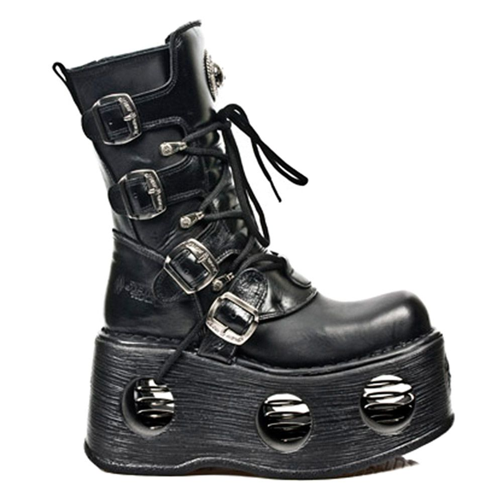 New Rock Space Metallic Neptuno Boots Unisex Black Leather Platform Boots