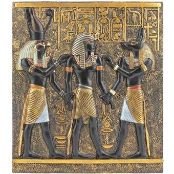 Tutankhamen Isis Horus Design Toscano Egyptian Temple Stele Plaque