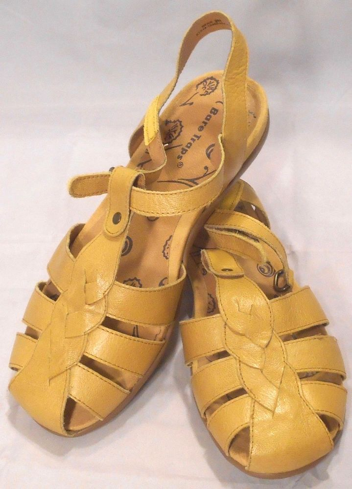 2e00b7582c47 Bare Traps Rexie Yellow Leather Fisherman Sandals Women s Size 9M   BareTraps  Fisherman  Casual