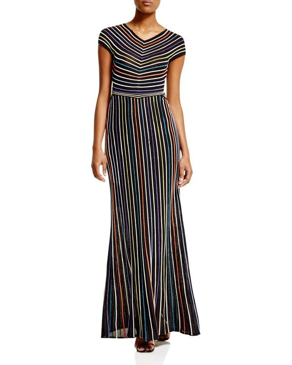 29773a2f0c93 M Missoni Metallic Micro Stripe Maxi Dress