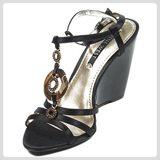 NINE WEST - Damen Knöchelriemen Keil Sandale NWJUVELIE BLACK Hacke: 10 cm -  Sandalen für