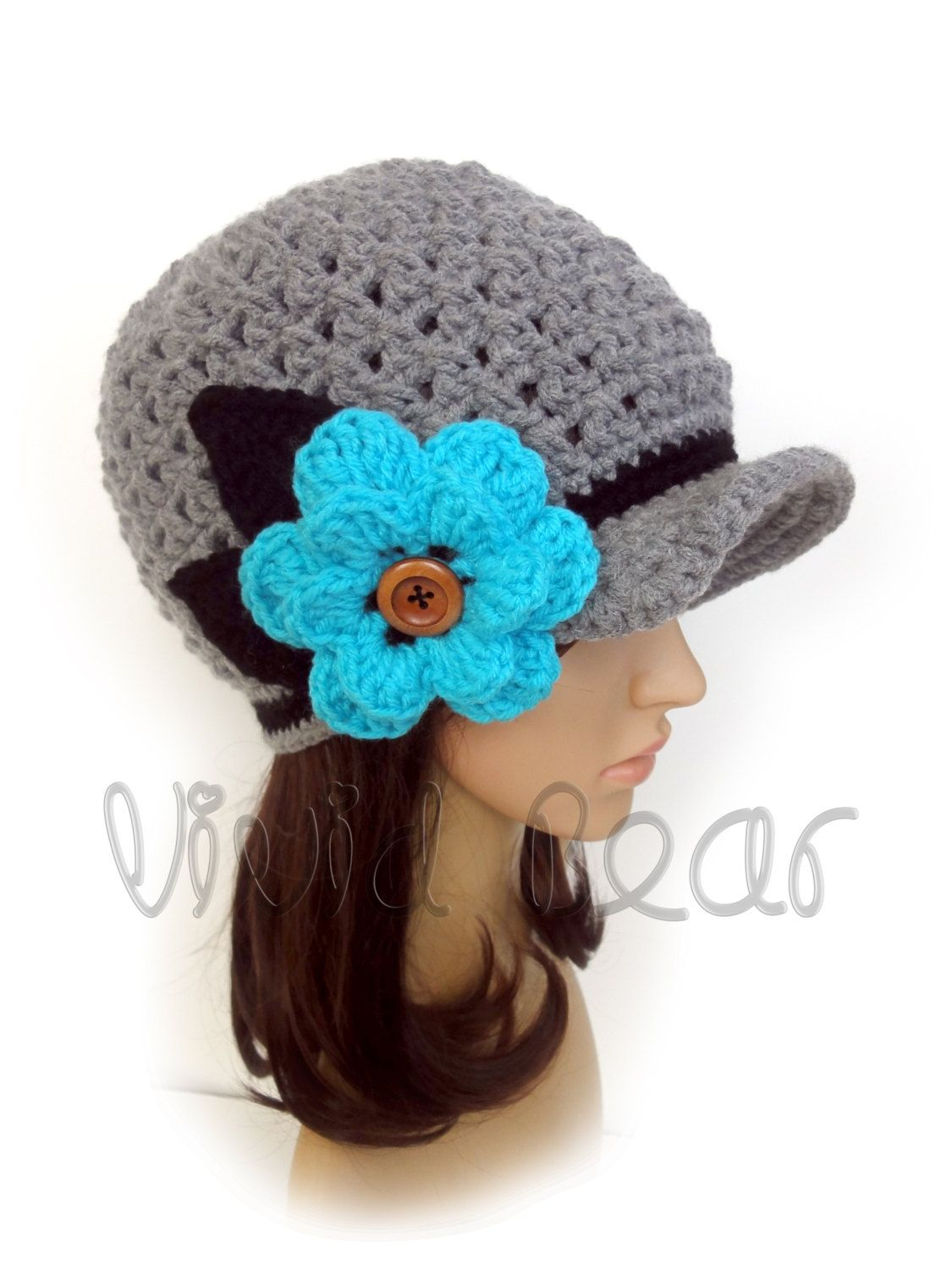 Crochet Newsboy Cap. 44 colors. Flower with wooden button and leaves. Beanie. Women's Hat. Warm Winter Accessory. by VividBear on Etsy