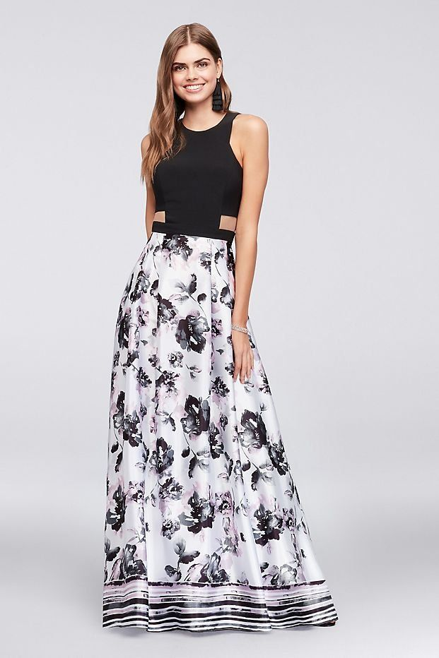 Illusion Cutout Prom Dress with Printed Charmeuse Skirt | David\'s ...