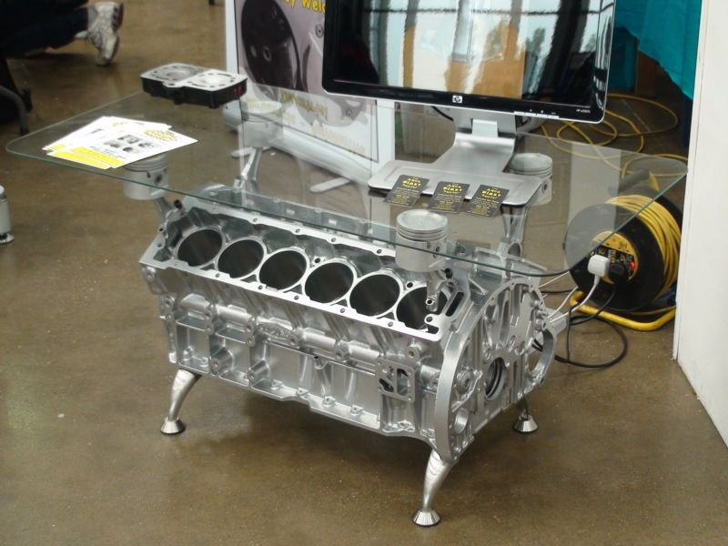 Coffee Table Television Stand Jaguar V12 Engine Retro