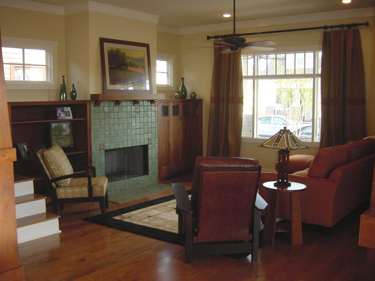 Craftsman Style Living Room Authentic looking green tile fire place