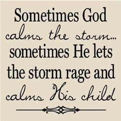 Sometimes God calms the storm... sometimes He lets the storm rage and calms His child.
