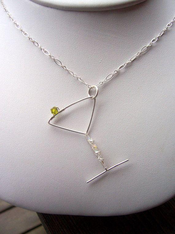 Sterling silver wire wrapped martini glass pendant, martini jewelry ...