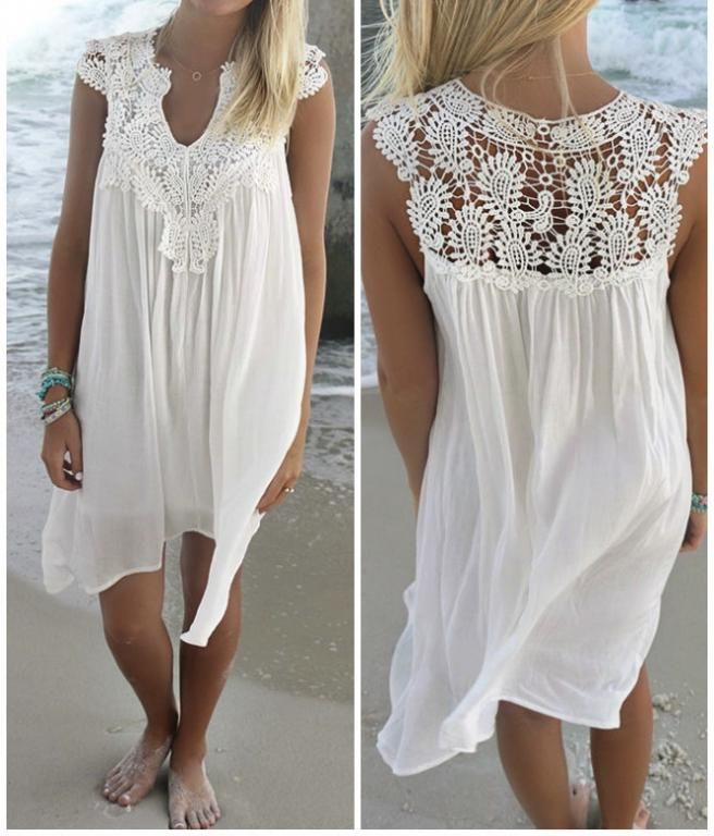 robe de plage blanche dentelle boho boheme chic d0994 mariage pinterest robes de plage. Black Bedroom Furniture Sets. Home Design Ideas