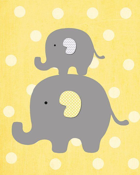 Elefant gelber und grauer Kinderzimmer-Kunst-Elefant durch MyPrintableArts #kinderzimmerkunst