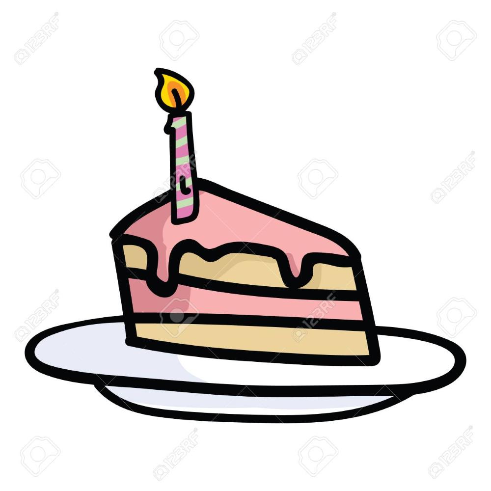 Cute Birthday Cake With Candle Slice Cartoon Vector Illustration Birthday Cake With Candles Cute Birthday Cakes Cartoons Vector