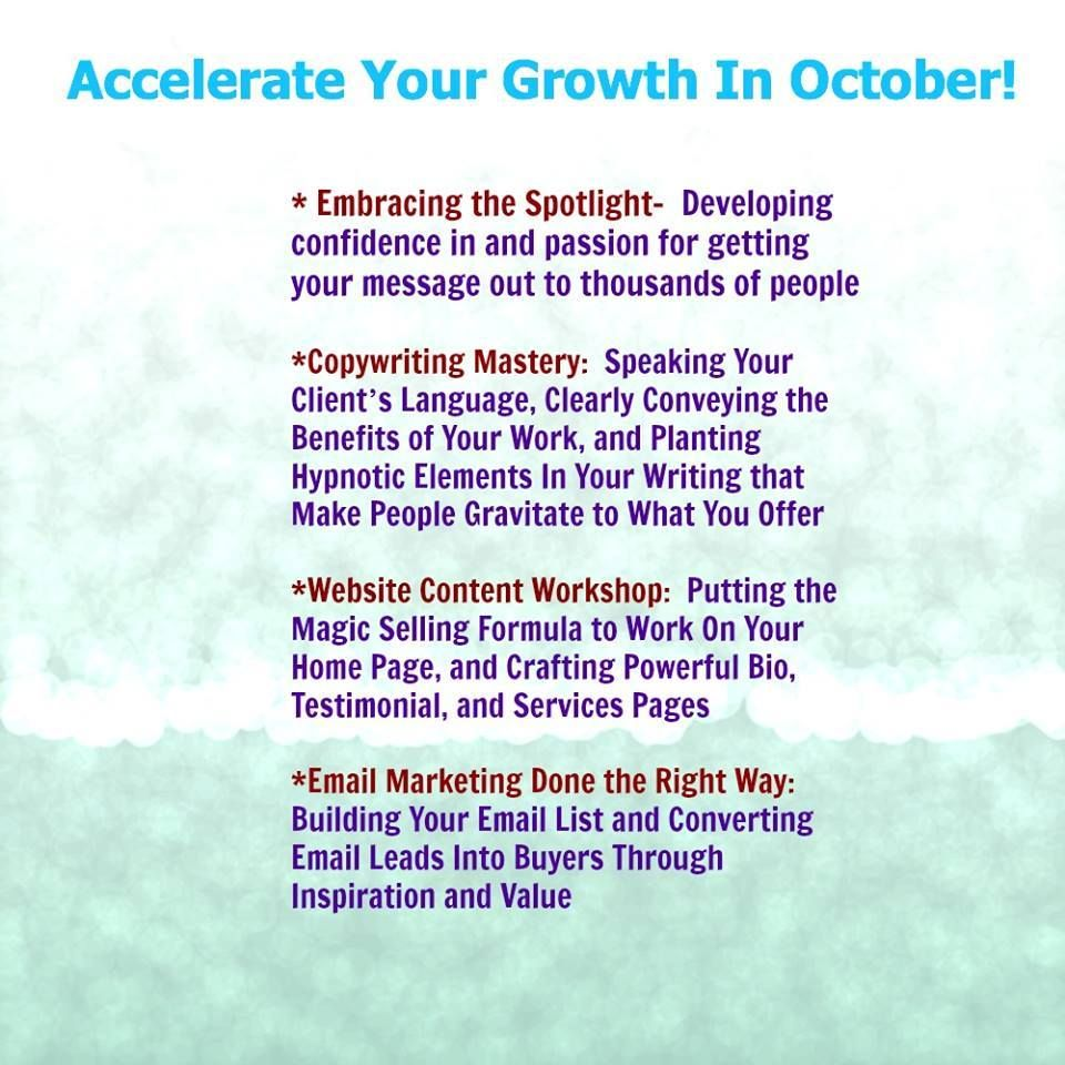 The October content in the Accelerate Your Growth coaching program.