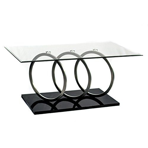 Home Source Glass Top Cocktail Table 48 by 26 by 21Inch
