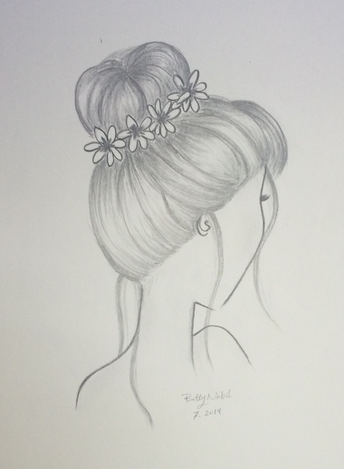 draw hair bun hairstyle with flowers