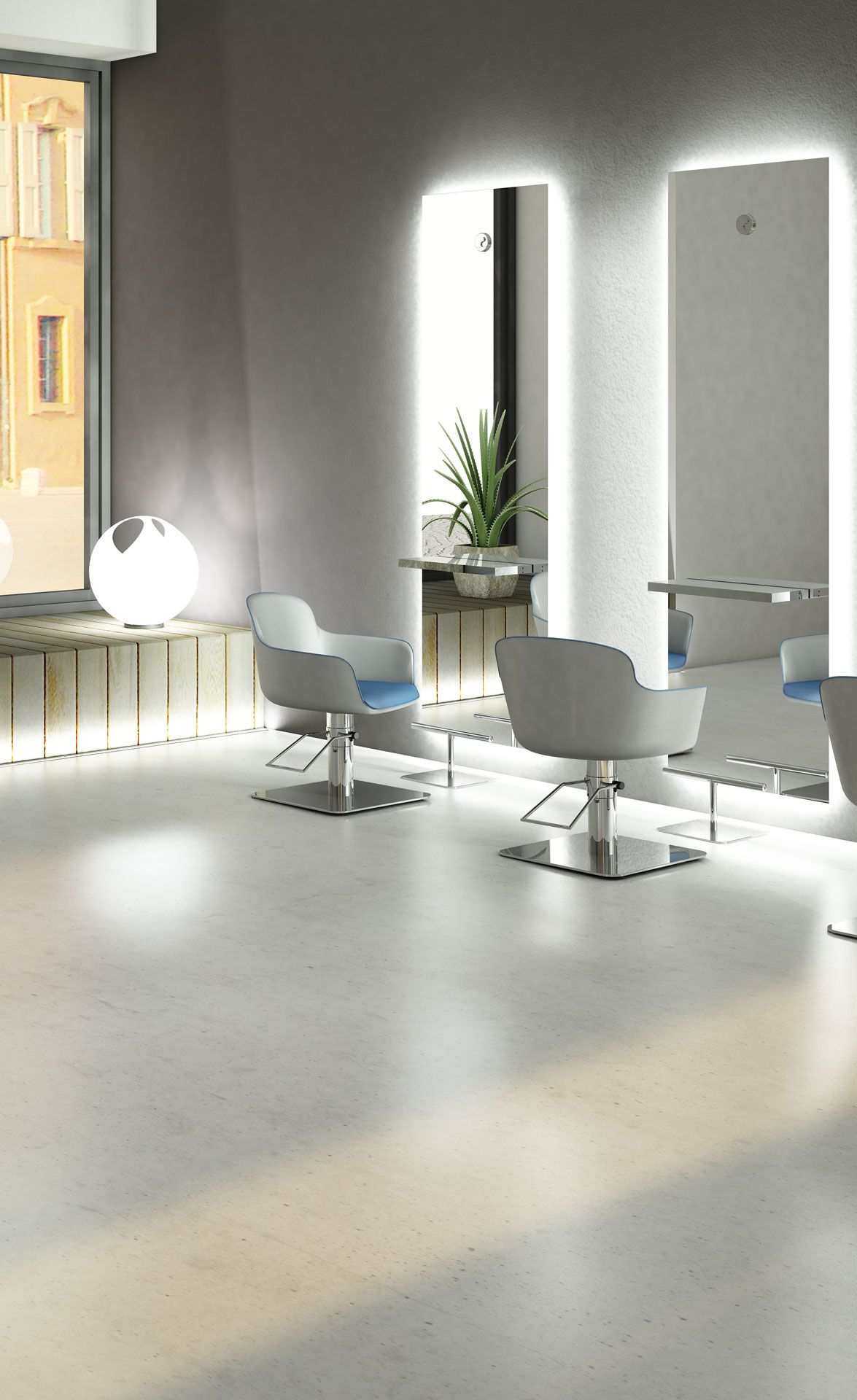 Minimal And Full Of Charm Amy Styling Chair Veil Styling Unit Area Footrest Http Www Pietranera Co Salon Suites Decor Beauty Salon Decor Hair Salon Decor