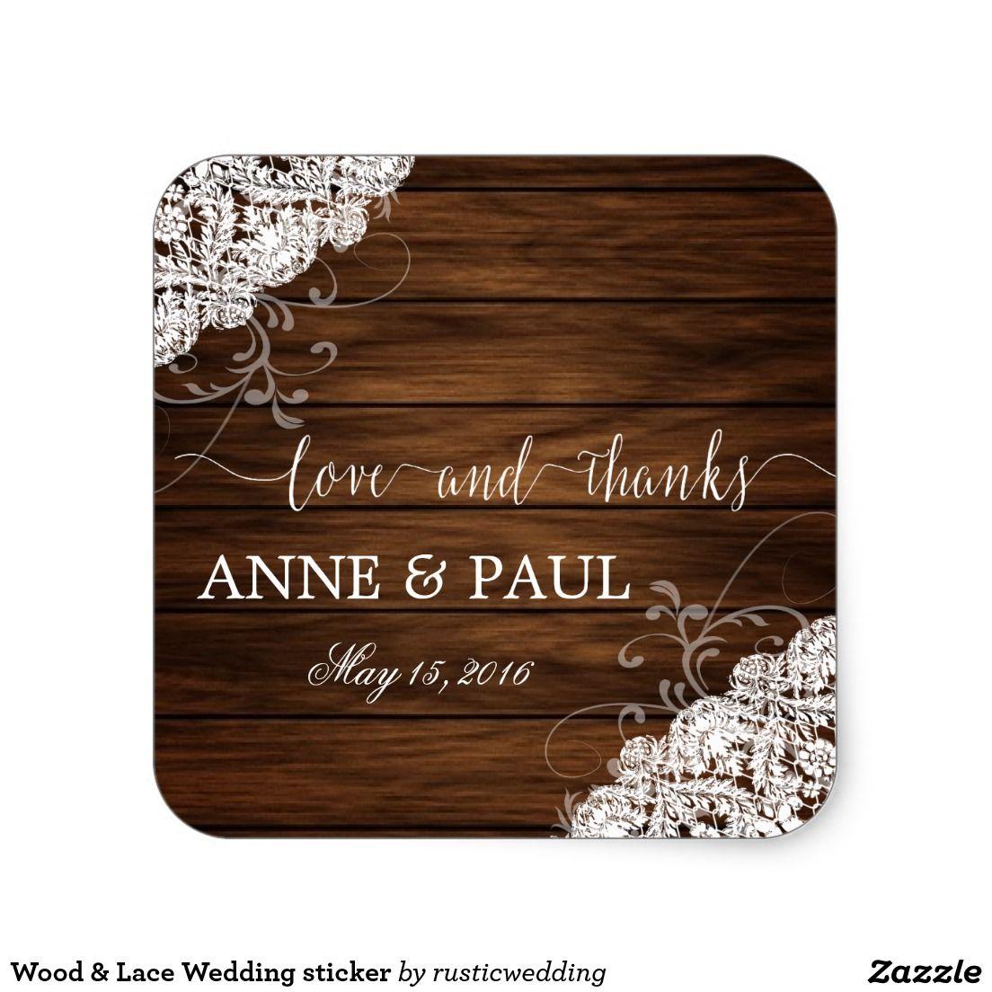 Wood Lace Wedding Sticker