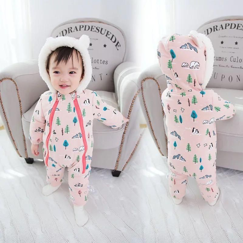 a8ae4ff64 Thicker Velvet Baby Girl Boy Warm Hooded Double Zipper Jumpsuit For ...