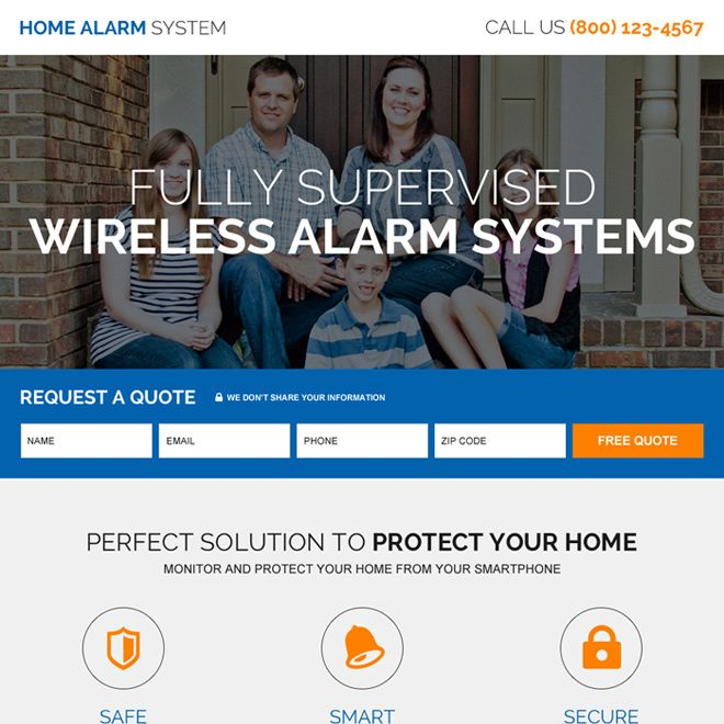 Home Alarm Security System High Quality Lead Capturing Landing