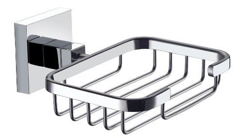 Wall Mounted Square Soap Basket in Polished Chrome by ECOSPA