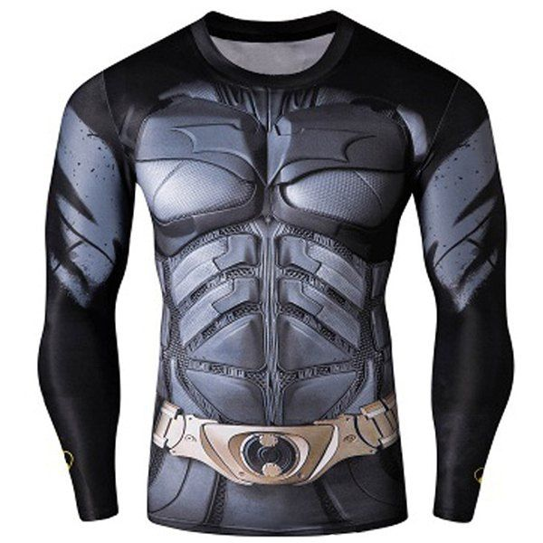 Quick-Dry Skinny Cool 3D Batman Pattern Round Neck Long Sleeves ...
